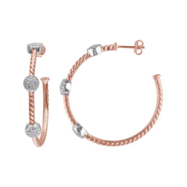 jcpenney.com | 1/10 CT. T.W. Diamond Rose Gold Over Silver Hoop Earrings