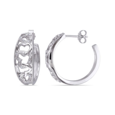 jcpenney.com | 1/10 CT. T.W. Diamond Sterling Silver Hoop Earrings
