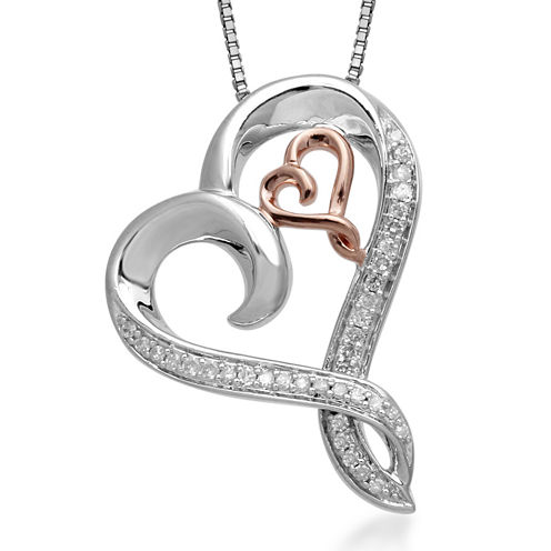 Hallmark Diamonds 1/7 CT. T.W. Diamond Heart Sterling Silver Pendant with 14K Rose Gold Accent
