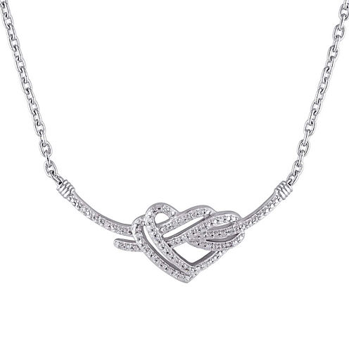 1/10 CT. T.W. Diamond Sterling Silver Pendant Necklace