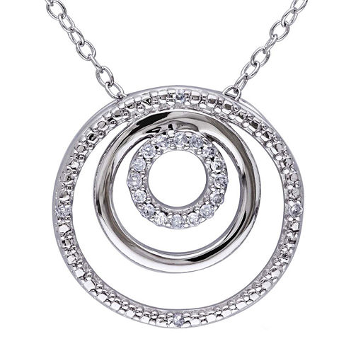 1/10 CT. T.W. Diamond Sterling Silver Circle Pendant Necklace