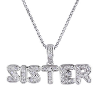 jcpenney.com | 1/10 CT. T.W. Diamond Sterling Silver Sister Pendant Necklace