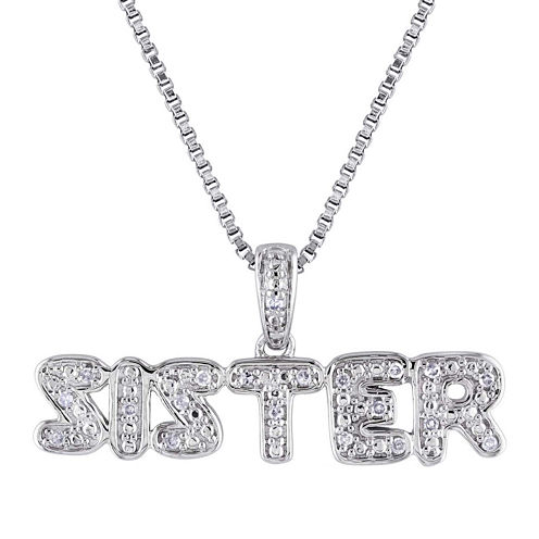 1/10 CT. T.W. Diamond Sterling Silver Sister Pendant Necklace