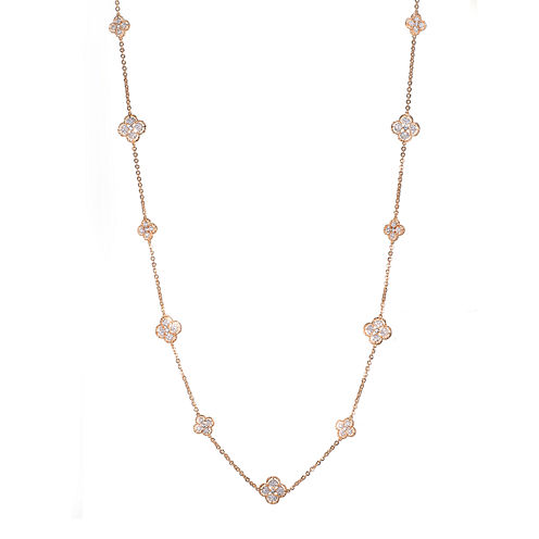 Jardin Rose-Tone Crystal Filigree Trefoil Necklace