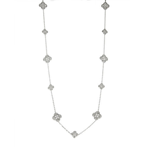 Jardin Crystal Silver-Tone Filigree Trefoil Necklace