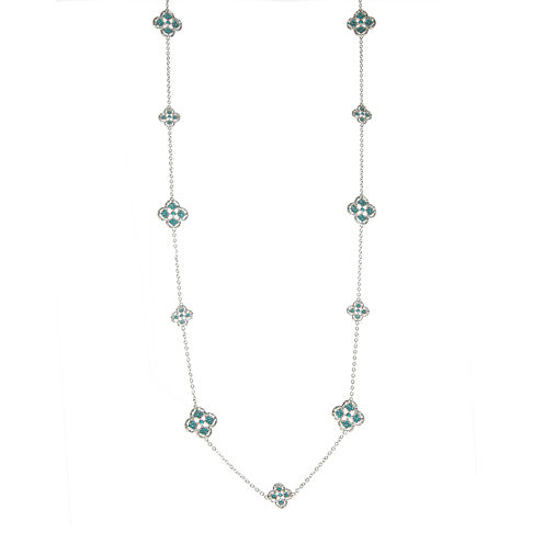 Jardin Silver-Tone Crystal Filigree Trefoil Necklace