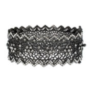 Jardin Black Pointed Edge Floral Hinge Bangle Cuffed Bracelet