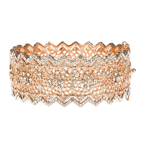Jardin Rose-Tone Pointed Edge Floral Hinge Bangle Cuffed Bracelet