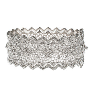 jcpenney.com | Jardin Silver-Tone Pointed Edge Floral Hinge Bangle Cuffed Bracelet