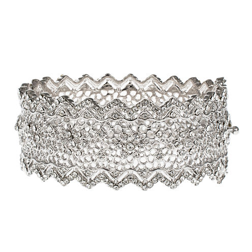 Jardin Silver-Tone Pointed Edge Floral Hinge Bangle Cuffed Bracelet