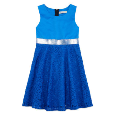 jcpenney.com | Descendants Sleeveless Blue Ponte with Lace Dress - Girls 7-16