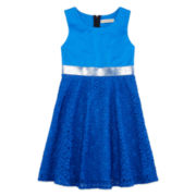 Descendants Sleeveless Blue Ponte with Lace Dress - Girls 7-16