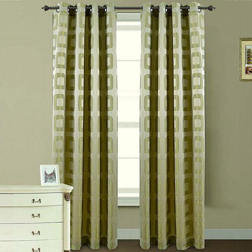 Retro Jacquard Grommet-Top Curtain Panel