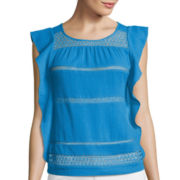 a.n.a® Short-Sleeve Ruffle Lace Top - Petite