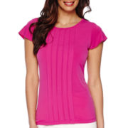 Liz Claiborne® Flutter-Sleeve Pleated Knit Top