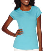 Liz Claiborne® Short-Sleeve Fitted Knit T-Shirt