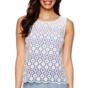 Liz Claiborne® Sleeveless Lace-Front Ombre Shell Shirt