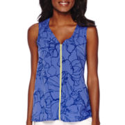Liz Claiborne® Sleeveless Floral V-Neck Tank Top