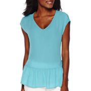 Liz Claiborne® Extended-Sleeve Peplum Blouse