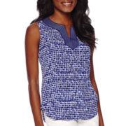 Liz Claiborne® Sleeveless Print Shell - Tall