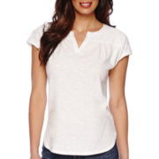 Liz Claiborne® Short-Sleeve Lace-Yoke Tee