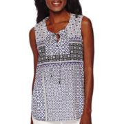 Liz Claiborne® Sleeveless Printed Lace-Up Shirt