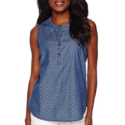 Liz Claiborne® Sleeveless Star Jacquard Denim Shirt