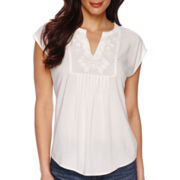 Liz Claiborne® Cap-Sleeve Embroidered Popover Top - Tall
