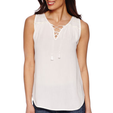 jcpenney.com | Liz Claiborne® Sleeveless V-Neck Tassel Peasant Top