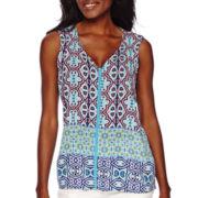 Liz Claiborne® Sleeveless Printed Border Blouse