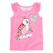 Okie Dokie® Ruffled Shoulder Graphic Tank Top - Toddler Girls 2t-5t