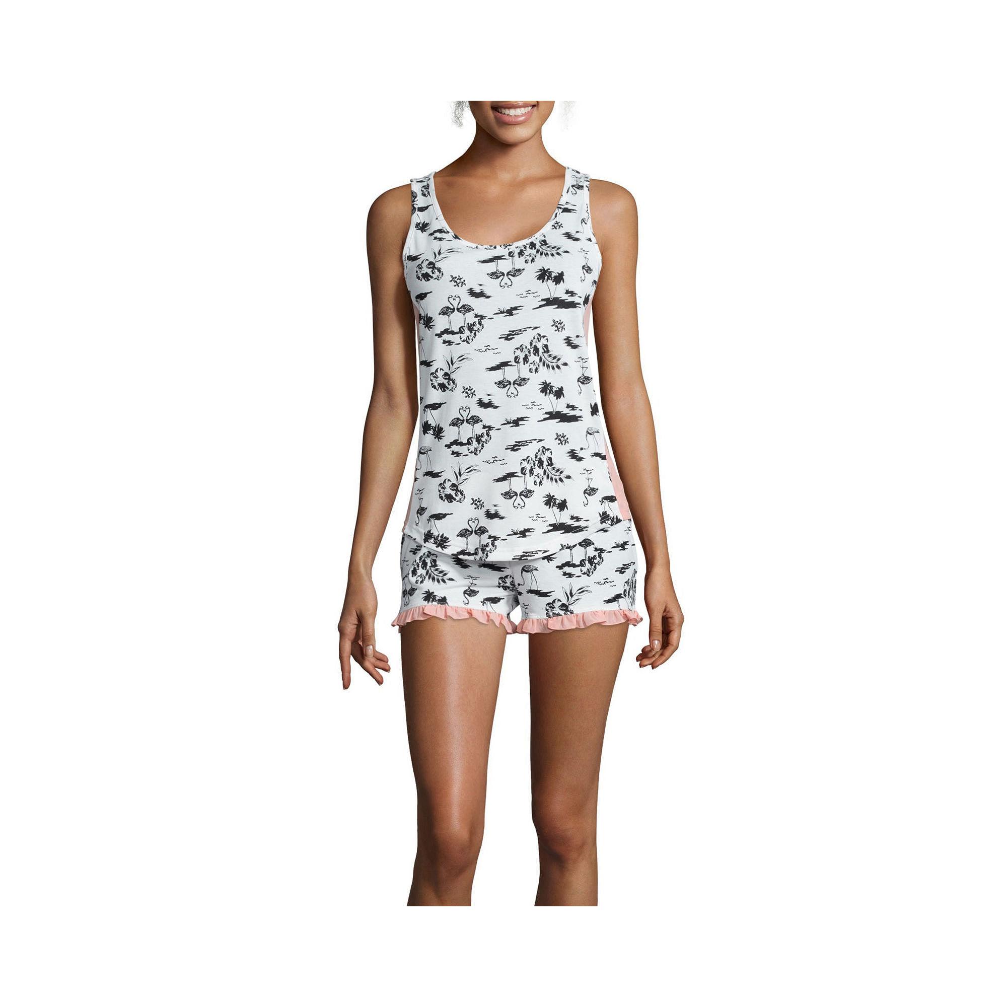 PJ Couture Chiffon-Trim Shorty Pajama Set plus size,  plus size fashion plus size appare