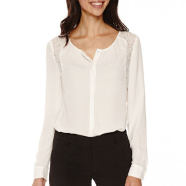 jcpenney.com | Worthington® Lace-Trim Blouse - Tall