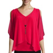 by&by 3/4-Sleeve Split-Front Top with Necklace