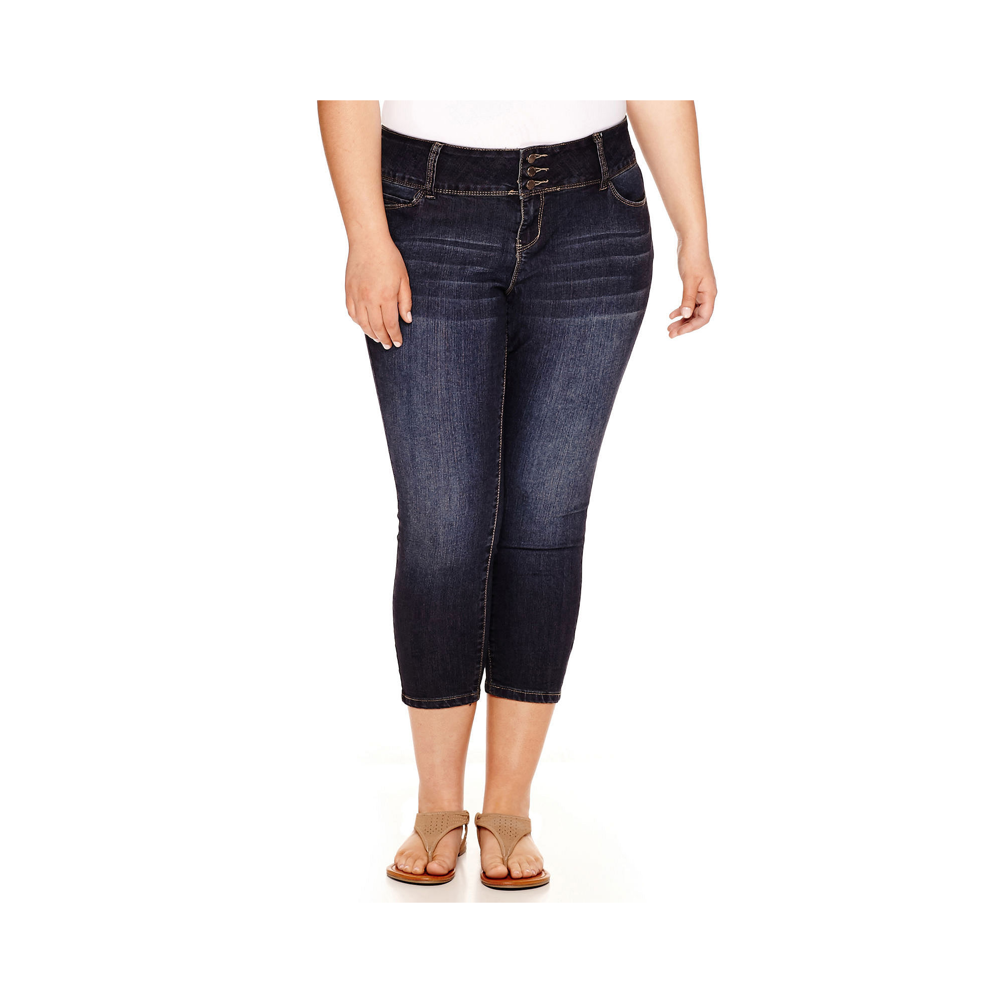 YMI 3-Button Wide Waistband Cropped Skinny Jeans - Juniors Plus plus size,  plus size fashion plus size appare