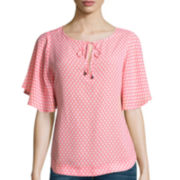 Stylus™ Flutter-Sleeve Peasant Top
