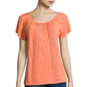 St. John's Bay® Lace Insert Peasant Top