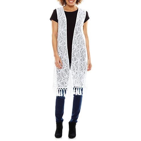 Studio 36 Long Crochet Fringe Vest Wrap