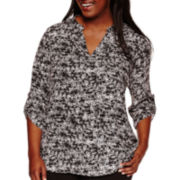 Decree® 3/4-Sleeve Woven Blouse - Juniors Plus