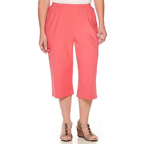 Alfred Dunner® Cotton Sheeting Pull-On Capris - Plus