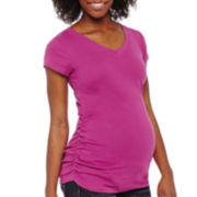 Maternity Short-Sleeve Ruched-Side Tee