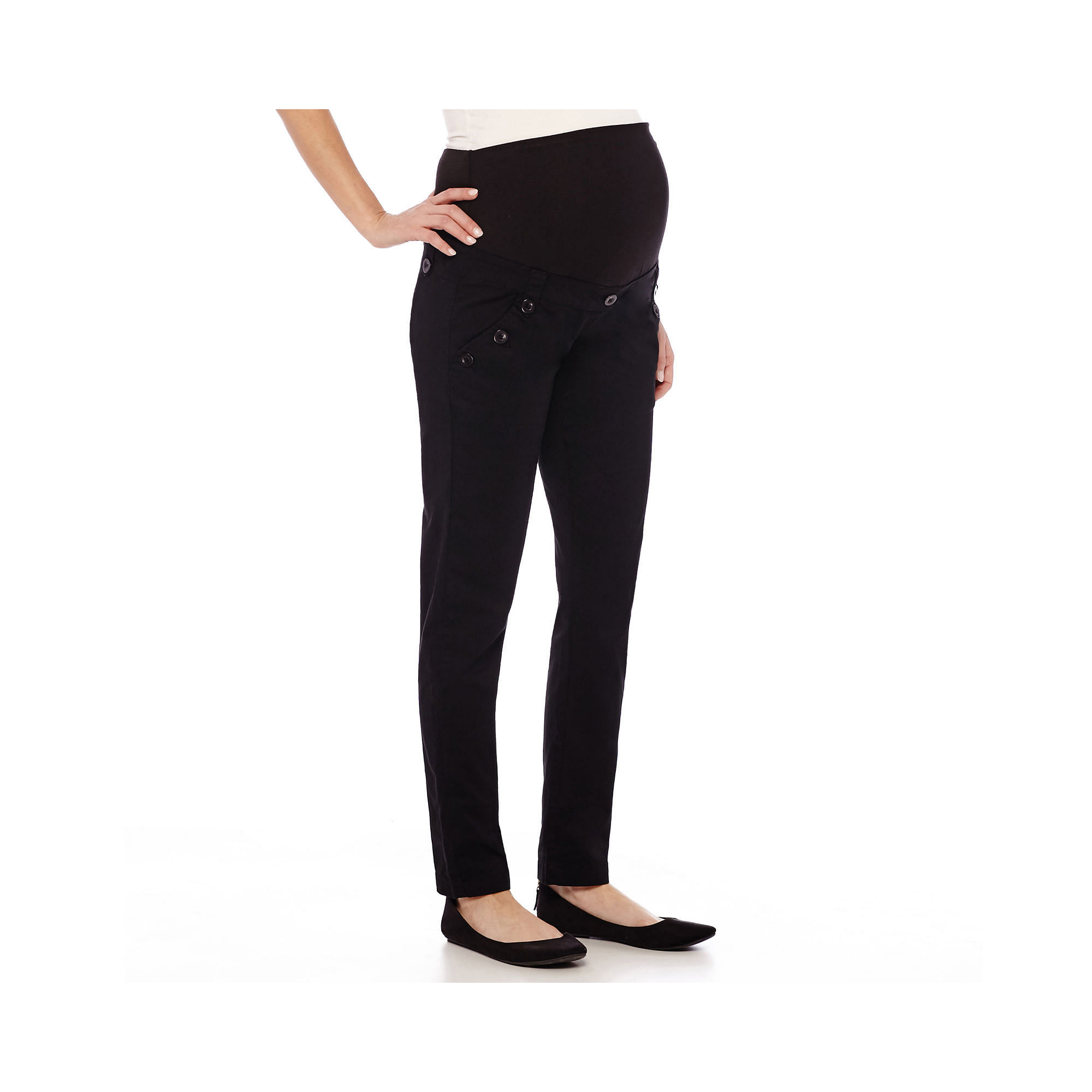 Maternity Overbelly Straight-Leg Twill Pants plus size,  plus size fashion plus size appare