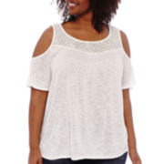 a.n.a® Short-Sleeve Cold Shoulder Lace Front Top - Plus