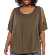 a.n.a® Short-Sleeve Cold Shoulder Top - Plus