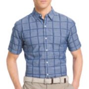 IZOD® Short-Sleeve Chambray Woven Button-Front Shirt