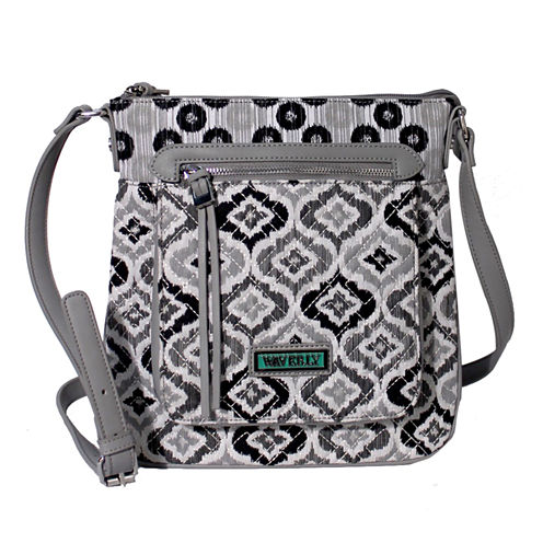 Waverly Black White Ikat Quilted Medium Crossbody Bag
