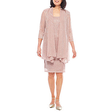 R m richards 3 4 sleeve crinkle jacket dress jcpenney for 3 4 sleeve wedding guest dress