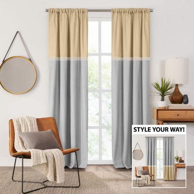 Fieldcrest Devin Flippable Stripe Cotton Chambray Energy Saving 100 Blackout Rod Pocket Single Curtain Panel Jcpenney