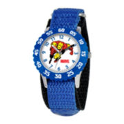 Marvel Iron Man Time Teacher Kids Blue Fast Strap Watch