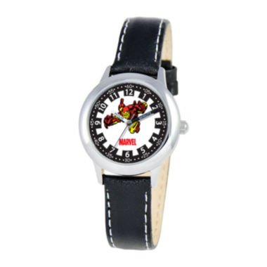jcpenney.com | Marvel Iron Man Time Teacher Kids Black Leather Watch